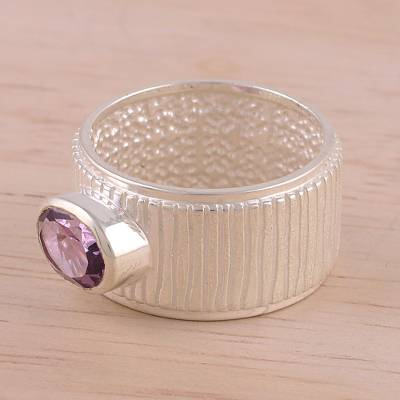 Rhodium Plated Amethyst Single Stone Ring from India