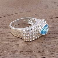 Blue topaz cocktail ring, 'Checkered Beauty' - Blue Topaz Rhodium-Plated Sterling Silver Cocktail Ring