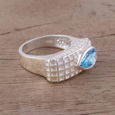 Blue Topaz Rhodium-Plated Sterling Silver Cocktail Ring