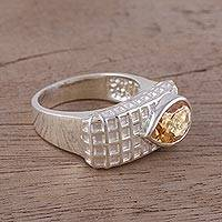Citrine cocktail ring, 'Checkered Beauty' - Citrine and Rhodium-Plated Sterling Silver Cocktail Ring