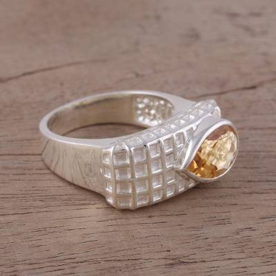 Citrine and Rhodium-Plated Sterling Silver Cocktail Ring