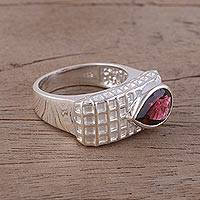 Garnet cocktail ring, 'Checkered Beauty' - Garnet and Rhodium-Plated Sterling Silver Cocktail Ring