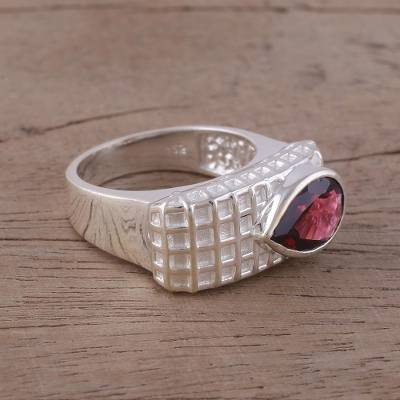Garnet and Rhodium-Plated Sterling Silver Cocktail Ring
