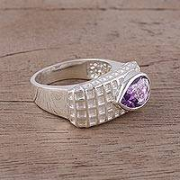 Amethyst cocktail ring, 'Checkered Beauty' - Amethyst and Rhodium-Plated Sterling Silver Cocktail Ring