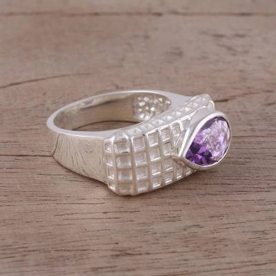 Amethyst and Rhodium-Plated Sterling Silver Cocktail Ring