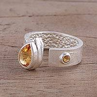 Citrine wrap ring, 'Shimmering Symphony' - Citrine and Rhodium-Plated Sterling Silver Wrap Ring