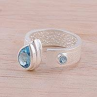Blue topaz wrap ring, 'Shimmering Symphony' - Blue Topaz and Rhodium-Plated Sterling Silver Wrap Ring