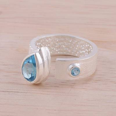 Blue Topaz and Rhodium-Plated Sterling Silver Wrap Ring