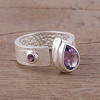Amethyst wrap ring, 'Shimmering Symphony' - Amethyst and Rhodium-Plated Sterling Silver Wrap Ring