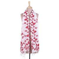 Cotton scarf, 'Crimson Canopy' - Floral Motif Cotton Scarf in Crimson and Eggshell from India