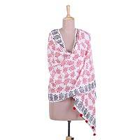 Cotton shawl, 'Happy Turtles' - Turtle Motif Cotton Shawl in Strawberry and Black from India