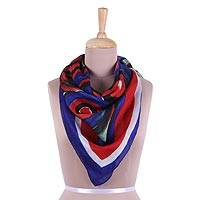 Silk scarf, 'Mystical Beauty' - Handwoven Painted Silk Scarf in Poppy and Indigo from India