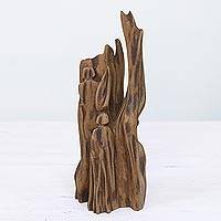 Wood sculpture, 'Siblings' - Unique Hand Carved Reclaimed Driftwood Sculpture from India