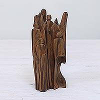 Reclaimed wood sculpture, 'Unity' - Unique Hand Carved Reclaimed Driftwood Sculpture from India