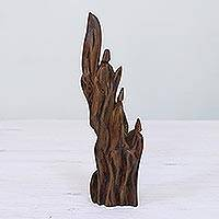 Reclaimed wood sculpture, 'Rising Up' - Hand Carved Reclaimed Sal Driftwood Sculpture from India
