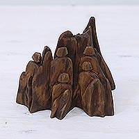 Wood sculpture, 'Disconnect' - Hand Carved Reclaimed Sal Driftwood Sculpture from India