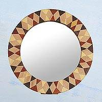 Wood wall or tabletop mirror, 'Geometric Reflection' - Circular Geometric Mango Wood Mirror from India