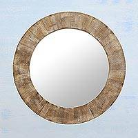 Wood mirror, 'Trendy Cabin' - Circular Brown Mango Wood Wall Mirror from India