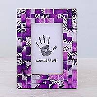 Glass photo frame, 'Purple Impression' (4x6) - 4x6 Rectangular Glass Mosaic Purple Photo Frame from India