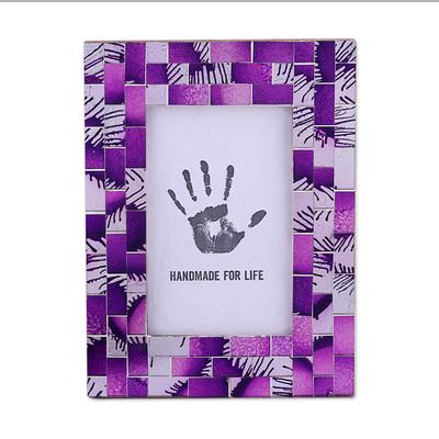 4x6 Rectangular Glass Mosaic Purple Photo Frame from India