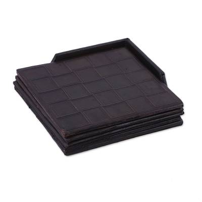 Set of Four Handcrafted Leather Coasters from India
