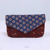 Cotton clutch, 'Flowery Rainfall' - Printed Floral Cotton Clutch in Azure and Russet from India