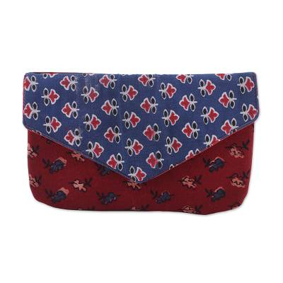 Printed Floral Cotton Clutch in Azure and Russet from India