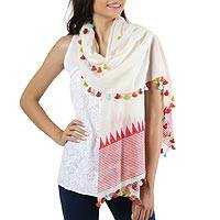 Cotton shawl, 'Pop of Color' - Loom Woven 100% Cotton White and Red Shawl from India