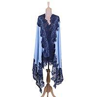Wool and silk blend shawl, 'Floral Union in Pastel Blue' - Wool Blend Floral Shawl in Pastel Blue and Azure from India