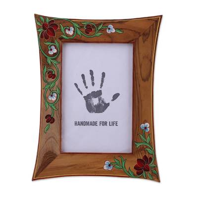 4x6 Teakwood Photo Frame with Hand-Painted Floral Motifs