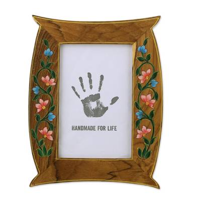 4x6 Floral Hand-Painted Teakwood Photo Frame from India