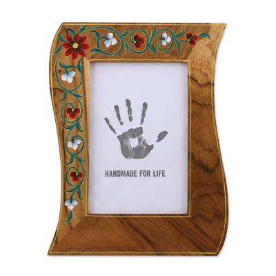 4x6 Teakwood Wavy Photo Frame with Floral Motifs from India