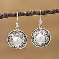Cultured pearl dangle earrings, 'In the Branches' - Indian Cultured Pearl and Sterling Silver Dangle Earrings