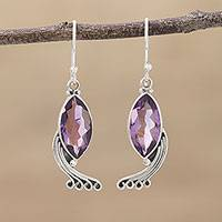 Amethyst dangle earrings, 'Peacock Grandeur' - Indian Amethyst and Sterling Silver Peacock Dangle Earrings