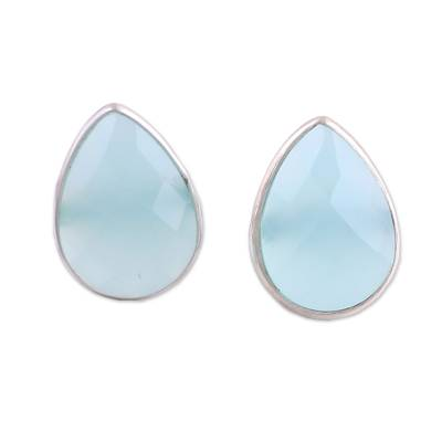 Aqua Chalcedony Sterling Silver Button Earrings from India