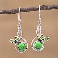 Peridot dangle earrings, 'Spring Beauty' - Peridot and Composite Turquoise Dangle Earrings from India