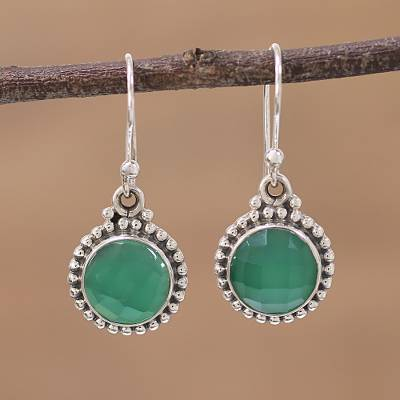 Onyx dangle earrings, 'Green Passion' - Green Onyx and Sterling Silver Dangle Earrings from India