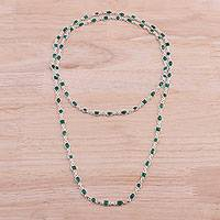 Onyx long link necklace, 'Delightful Gleam' - Green Onyx and Sterling Silver Link Necklace from India