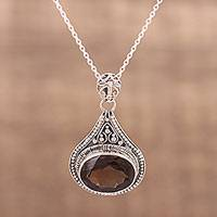 Smoky quartz pendant necklace, 'Chiaroscuro' - India Smoky Quartz and Sterling Silver Pendant Necklace