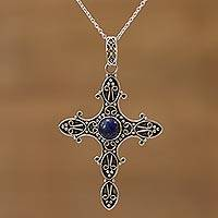 Lapis lazuli pendant necklace, 'Serenity in Faith' - Lapis Lazuli and Sterling Silver Cross Pendant Necklace