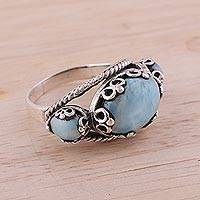 Larimar cocktail ring, 'Vintage Expressions' - Vintage Style Larimar and Sterling Silver Cocktail Ring