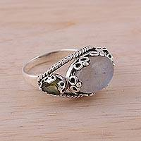 Rainbow moonstone and peridot cocktail ring, 'Vintage Expressions' - Rainbow Moonstone and Peridot Cocktail Ring