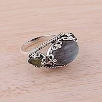 Labradorite and peridot cocktail ring, 'Vintage Expressions' - Cocktail Ring with Labradorite and Peridot Gems