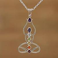 Multi-gemstone pendant necklace, 'Harmonious Mind' - Multi-Gemstone Chakra Meditation Pendant Necklace from India