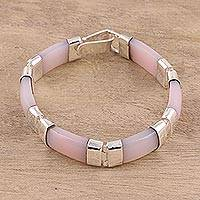 Onyx link bracelet, 'Rosy Harmony' - Pink Onyx and Sterling Silver Link Bracelet from India