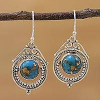 Sterling silver dangle earrings, 'Elegant Globes' - Sterling Silver and Composite Turquoise Earrings from India