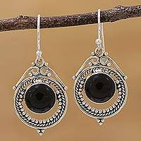 Onyx dangle earrings, 'Elegant Globes' - Onyx and Sterling Silver Dangle Earrings from India