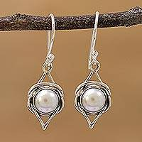 Cultured pearl dangle earrings, 'Intricate Twirl' - Indian Cultured Pearl and Sterling Silver Dangle Earrings