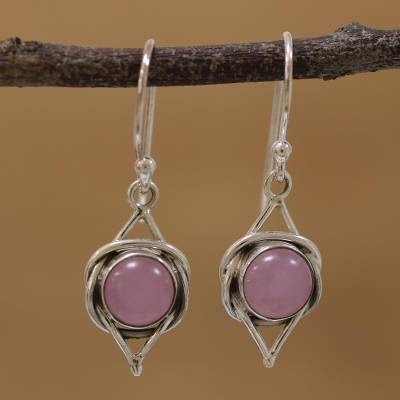 Chalcedony dangle earrings, 'Intricate Twirl in Pink' - Indian Pink Chalcedony and Sterling Silver Dangle Earrings