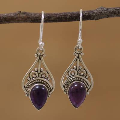 Amethyst dangle earrings, 'Crowned Drops' - Amethyst and Sterling Silver Dangle Earrings from India